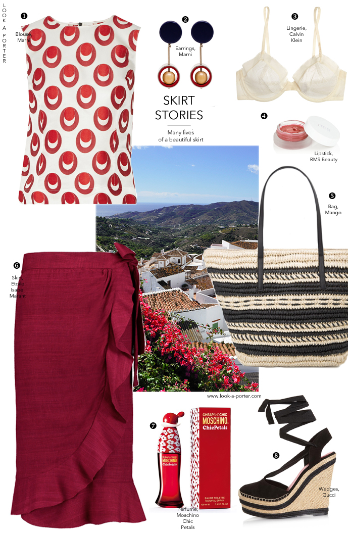 Outfit inspiration for holidays and weekends, ootd, how to style a midi skirt in summer. Marni, Isabel Marant, Moschino, Calvin Klein, Gucci, RMS Beauty. Via look-a-porter.com, style and fashion blog