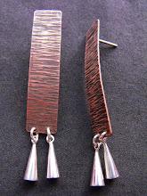 Aros Cobre texturado y envejecido, campanas plata 950 (214)