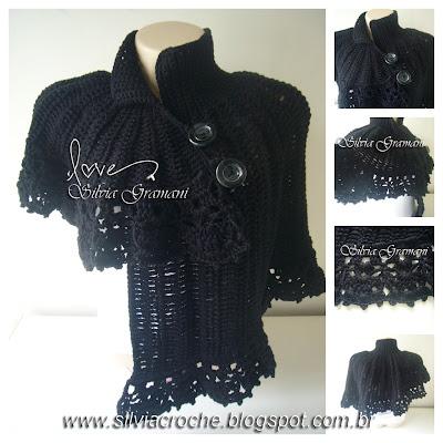 capa de croche, bolero, croche, capa, capelet assimetrica, capa preta, poncho, trico