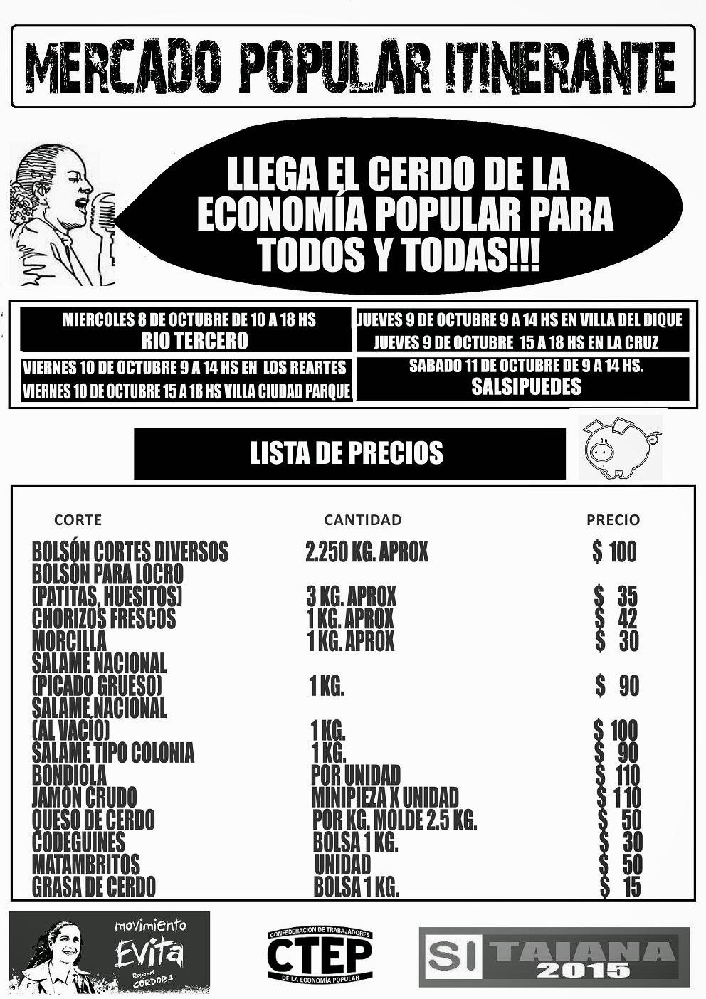 Movimiento Evita Cordoba informa cronología del camión del Mercado Popular Itinerante