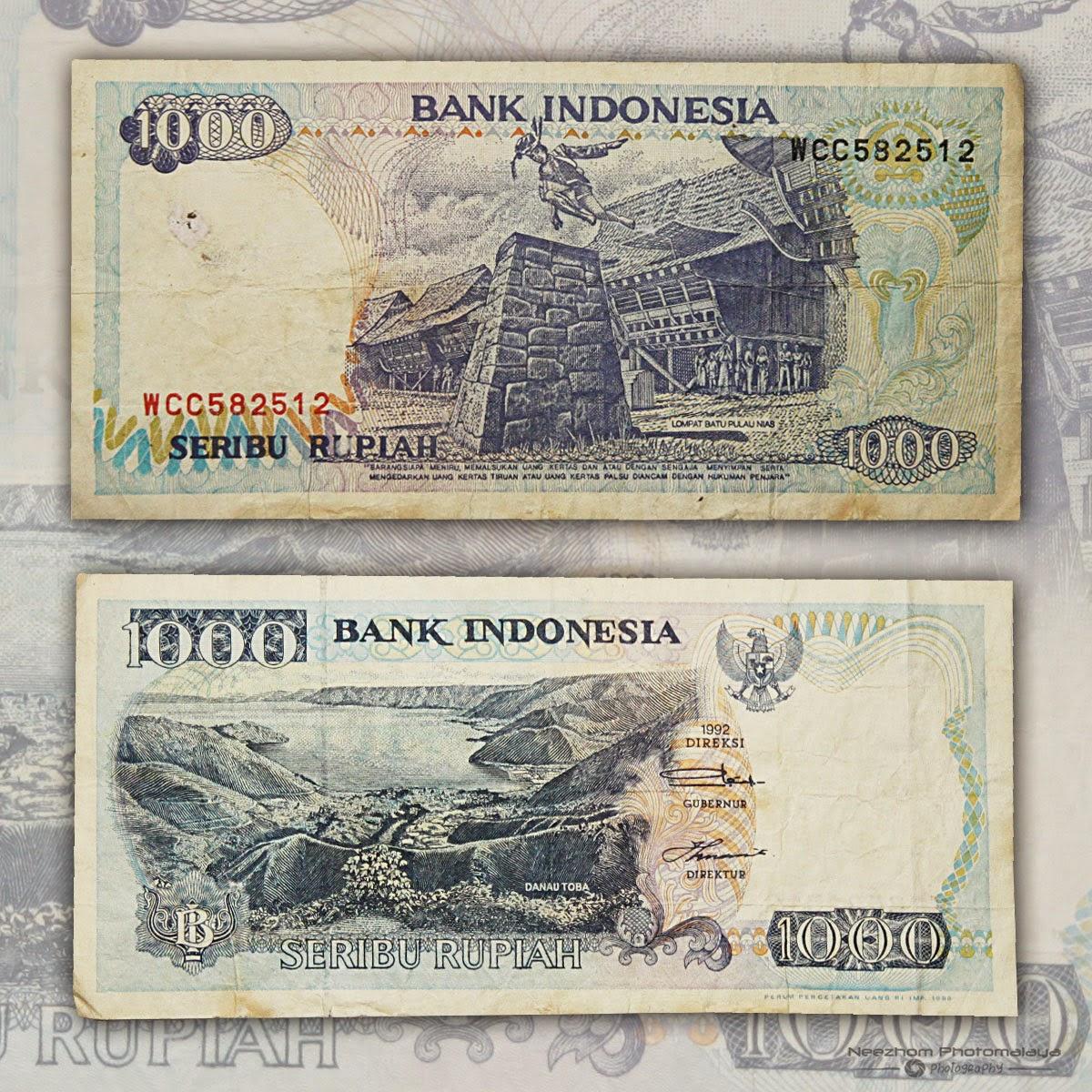 Seribu rupiah wang kertas Indonesia tahun 1992