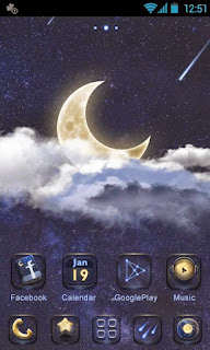 Screenshots of the Dmoon GO Launcher EX for Android mobile, tablet, and Smartphone.