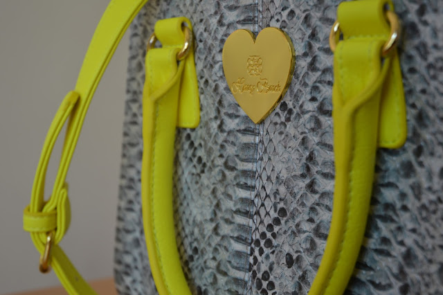 snakeskin and neon yellow bag from honey bunch in shibuya109 tokyo