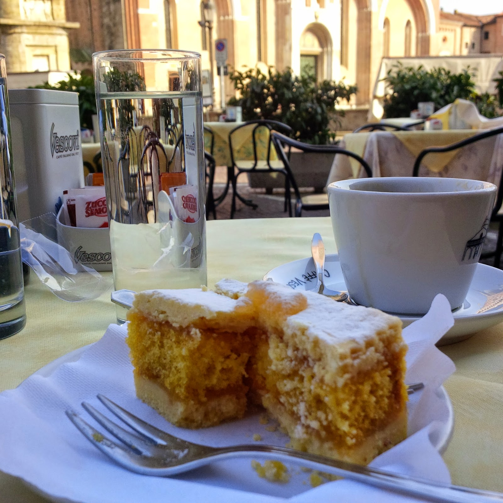 A piece of cake and a cup of real Italian coffee enjoyed opposite St Anthony's Basilica in Padua