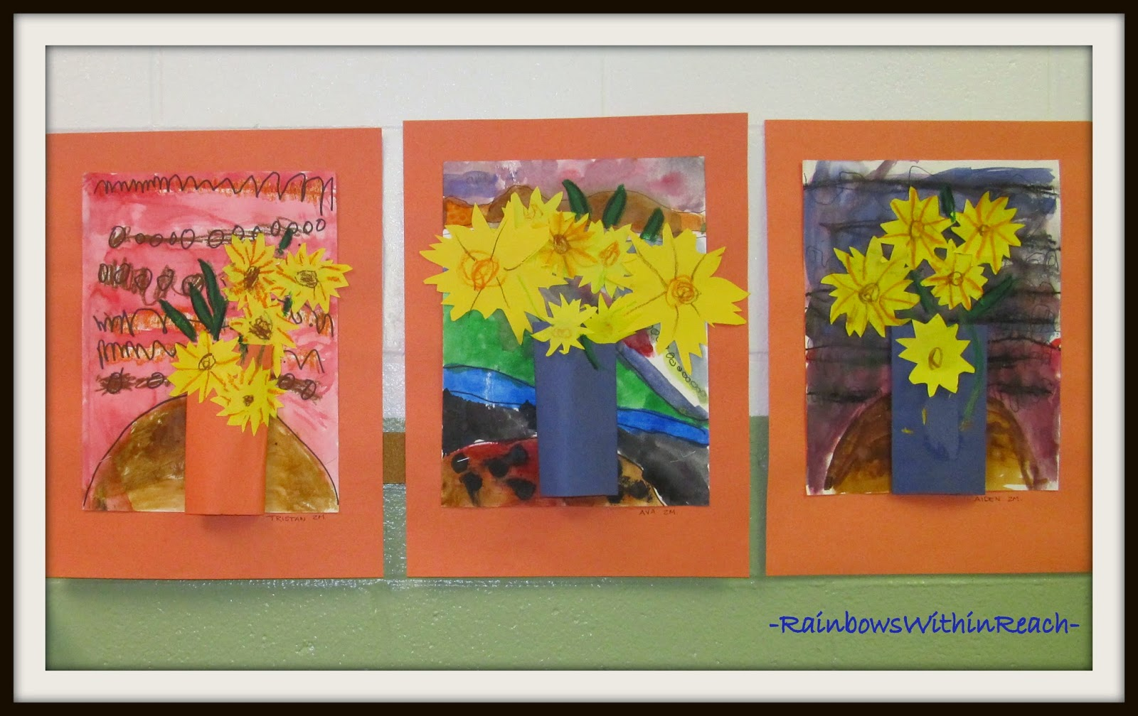 Fall Art on Display in the Hallway Bulletin Board via RainbowsWithinReach