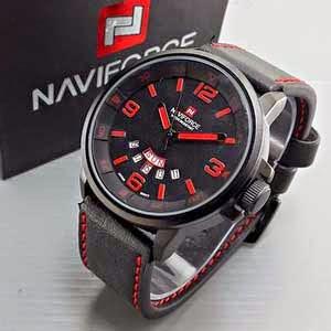 Naviforce 9028 Leather hitam merah