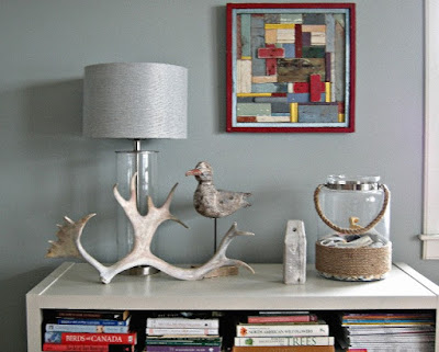 console vignette, antler, beach house, Home and Cabin