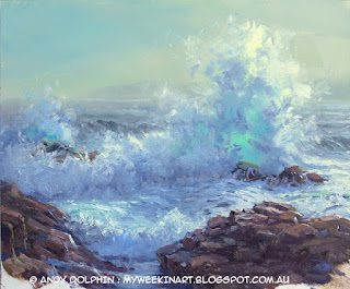 plein air seascape sketch, Torndirrup, in oil by Andy Dolphin