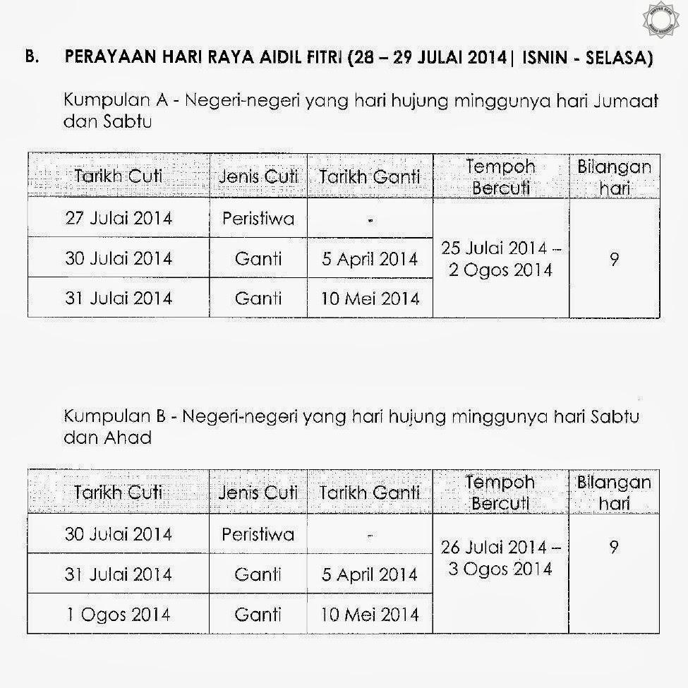 Jadual Cuti Sekolah Sempena Hari Raya Aidilfitri 2014