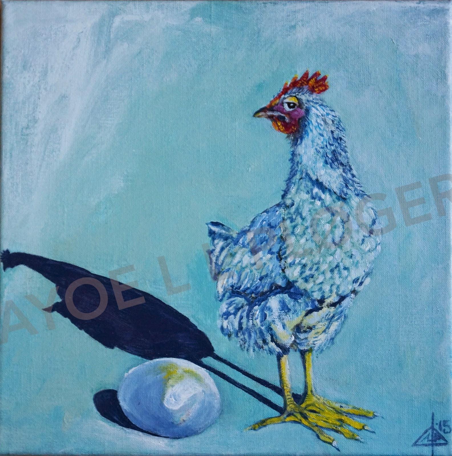 Høne, maleri, kunst, til salg, æg, acryl, hen, chicken, eeg, art, galleri, painting,