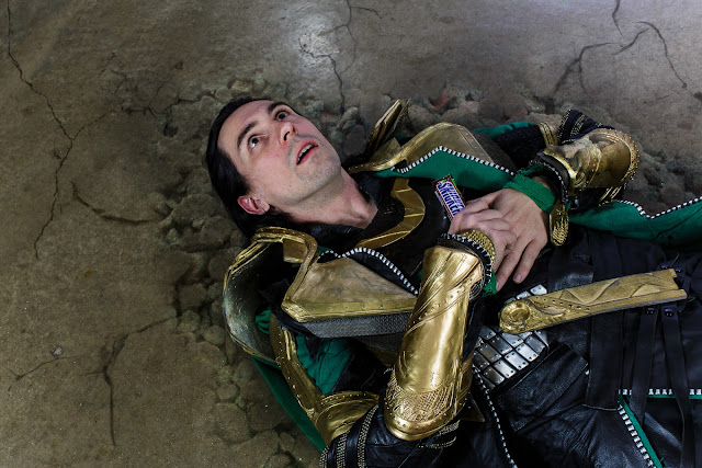 Loki, grabbing a Snickers after being smashed by the Hulk