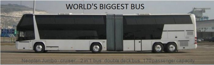 The world's biggest bus is Neopian Jumbo - cruiser a 2 in 1 bus double deck bus 170 passengers capacity, world records, biggest bus