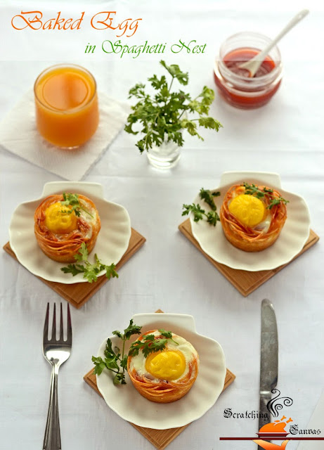 recipe  baked egg in spaghetti nest  scratching canvas