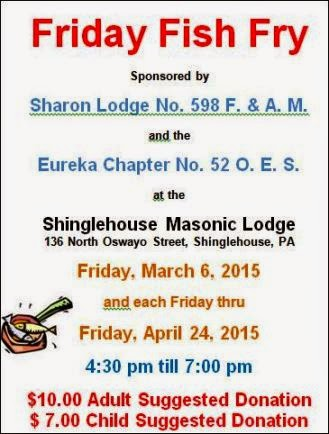 3-6 Thru 4-24 Fish Fry Shinglehouse