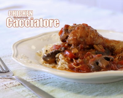 Chicken Cacciatore ♥ KitchenParade.com, an old family recipe, the classic Italian dish often called Hunter's Stew for stove, oven or slow cooker. WW4.
