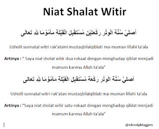 Niat Shalat Witir