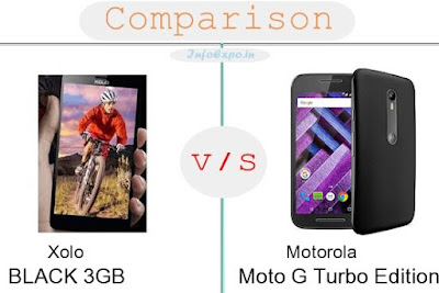 Xolo BLACK 3GB versus Motorola Moto G Turbo Edition specifications and features comparison RAM,Display,Processor,Memory,Battery,camera,connectivity,special feature etc. Compare Motorola Moto G Turbo Edition and Xolo BLACK 3GB in all features and price,Shopping offers,coupens.