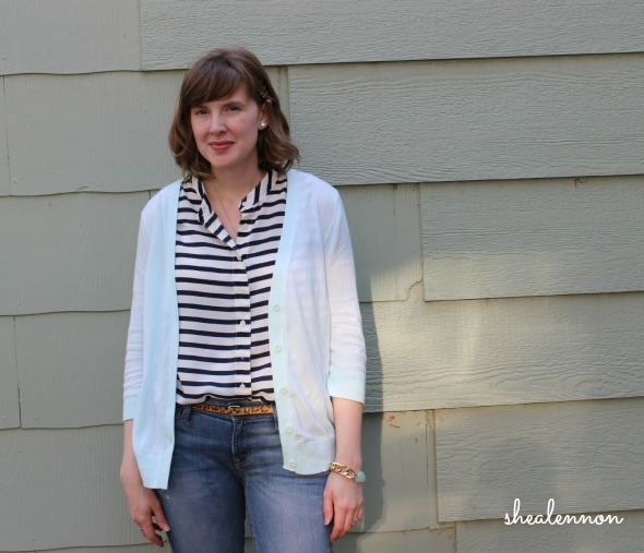 mint cardigan with navy blue stripes and jeans | www.shealennon.com