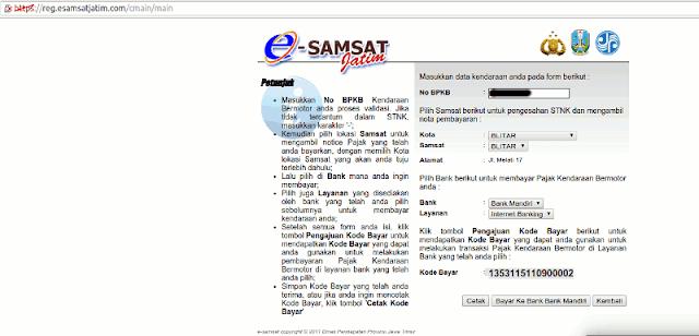 Kode Bayar E Samsat