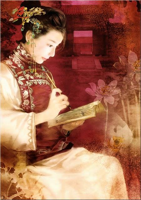 pintura chinesa mulher lendo