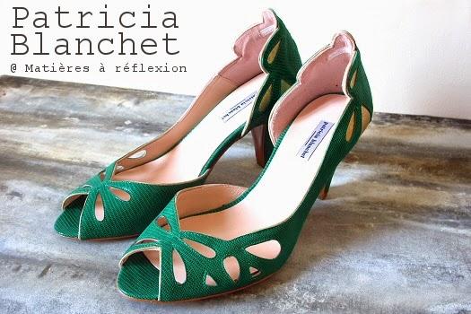 Chaussures cuir Patricia Blanchet escarpins verts retro Findouce ajourés
