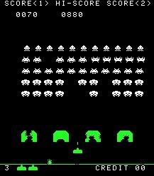 Imagen de la pantalla de juego : Space Invaders - 1978 : Un cañón dispara proyectiles a los marcianitos