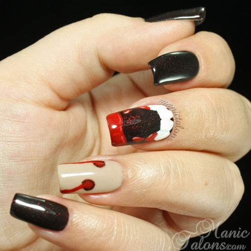 Manic talons gel polish and nail art blog dont let the vampires halloween manicure with vampire fangs and bite marks prinsesfo Choice Image
