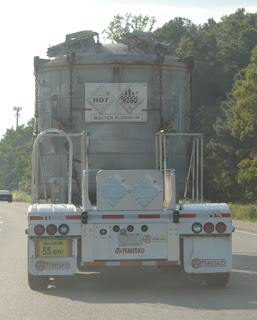 truck carrying molten aluminum