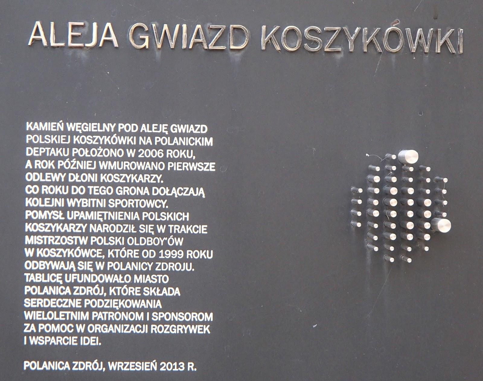Polanica Zdrój - tablica w Alei Gwiazd koszykówki - fot. Tomasz Janus / sportnaukowo.pl