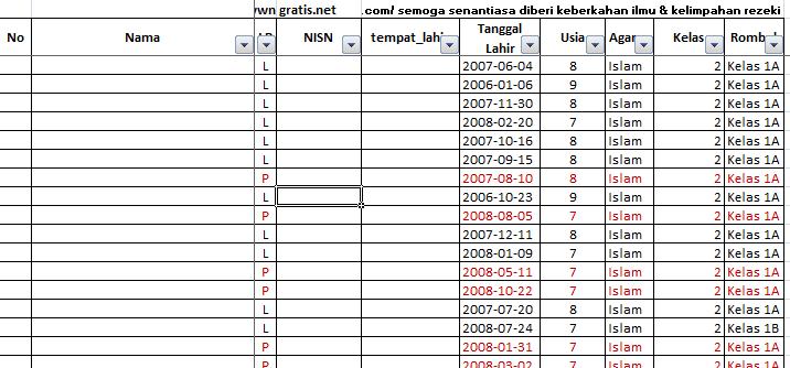 Membuat Daftar Tabel Usia Siswa Otomatis Dengan Excel