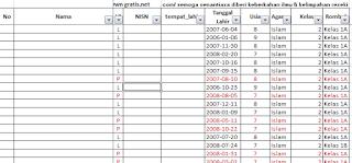 Aplikasi Daftar Tabel Usia Siswa Otomatis