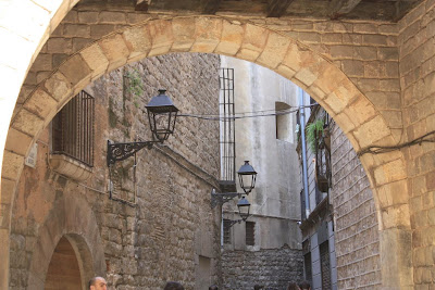 Typical street in the Barcelona Gothic Quarter
