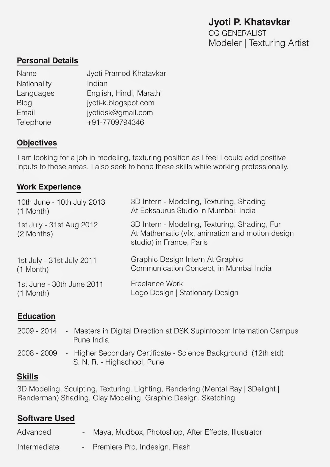 resume and recommendations