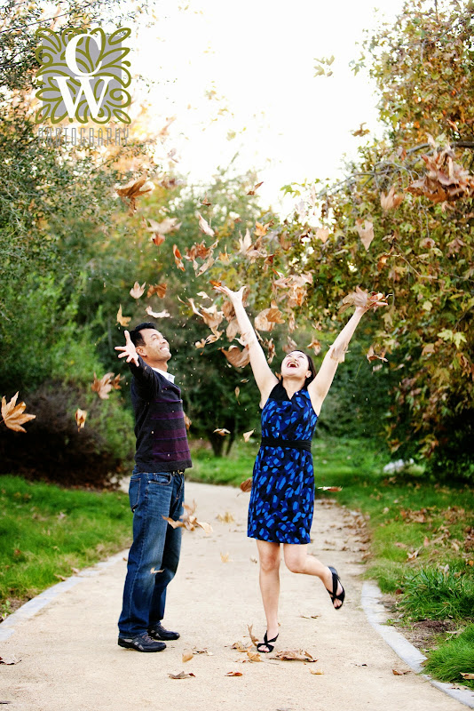engagement portraits fall leaves lakewood ca
