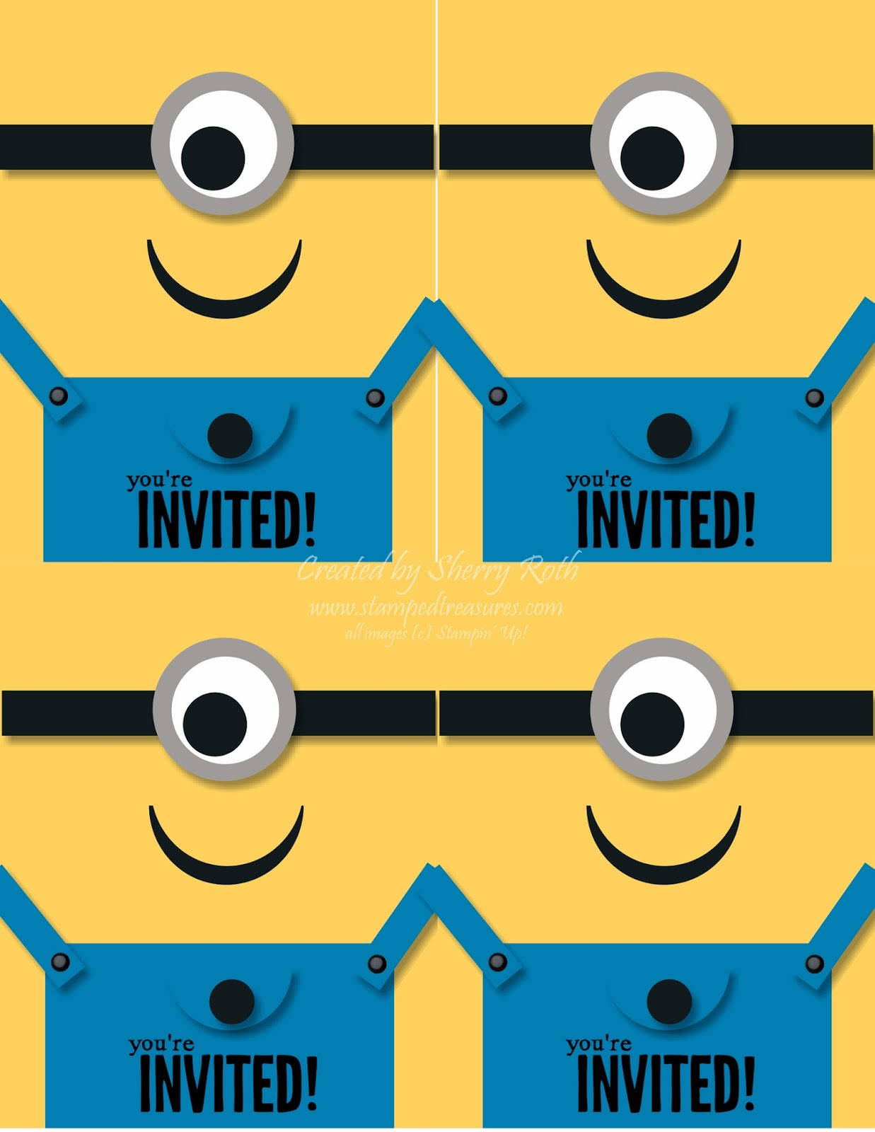 Sherrys Stamped Treasures Minion Birthday Invitations