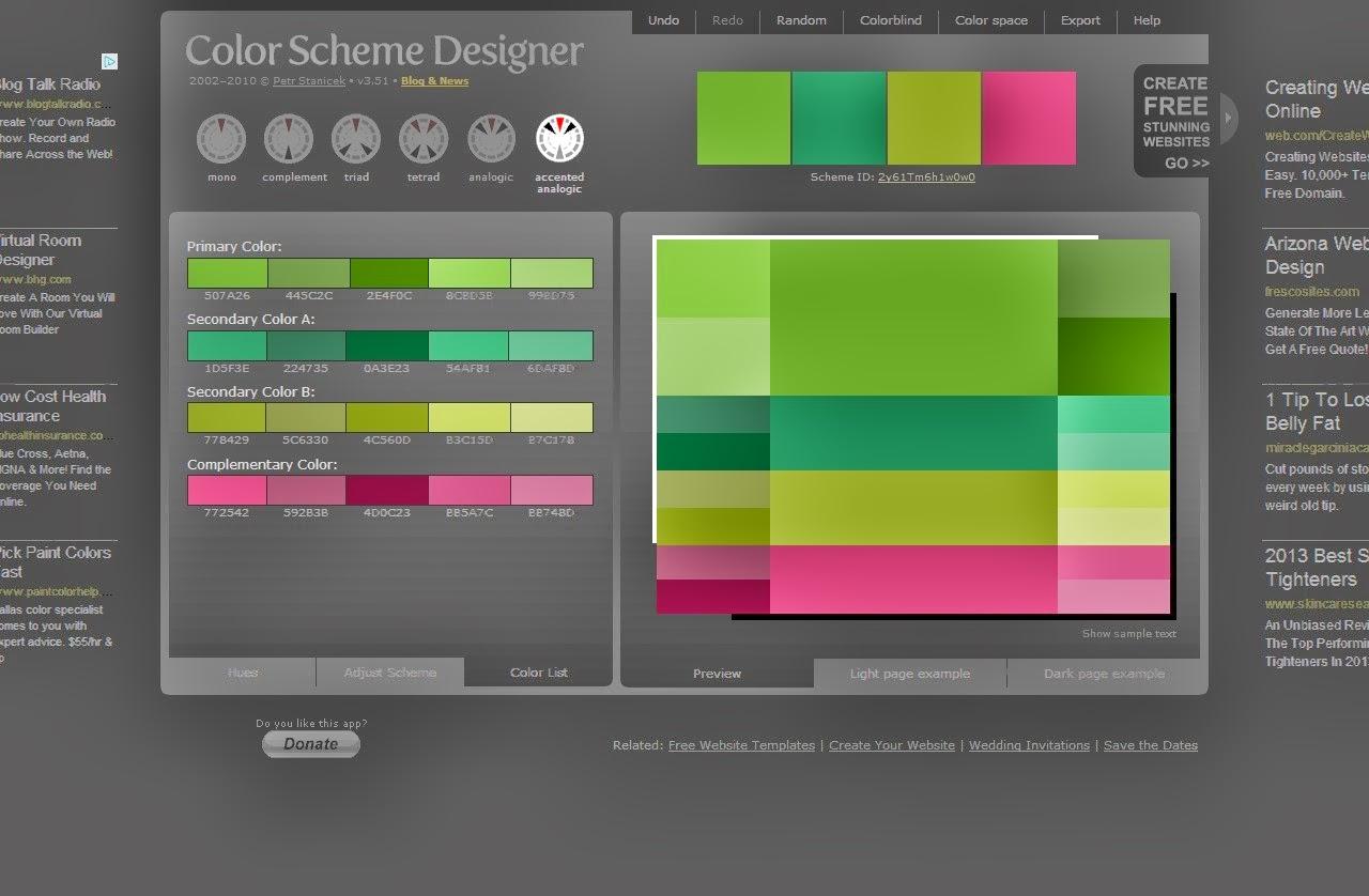 Color Scheme Designer Click On The Uclight Page Or Ucdark - Color scheme designer home