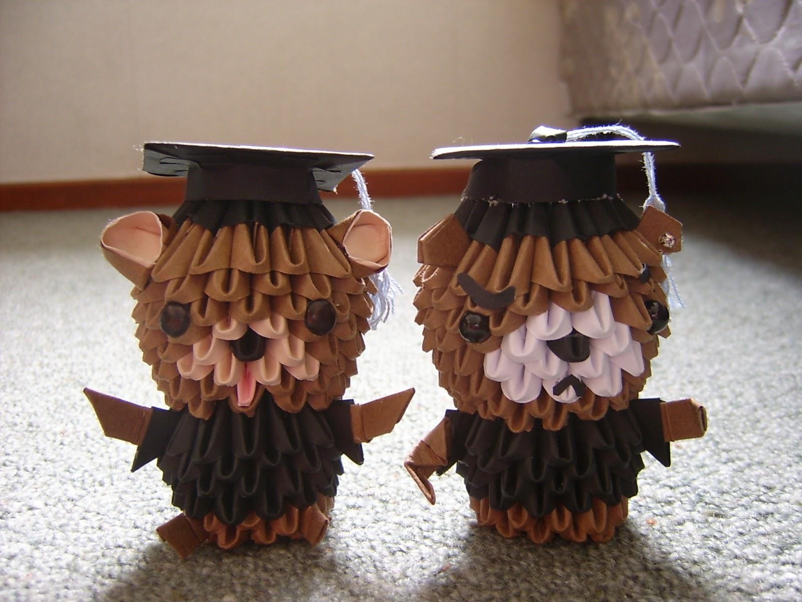 Jewellia Handicrafts New 3d Origami Graduation Bears Diagram Bear Special Requests Pedobear Gangsta