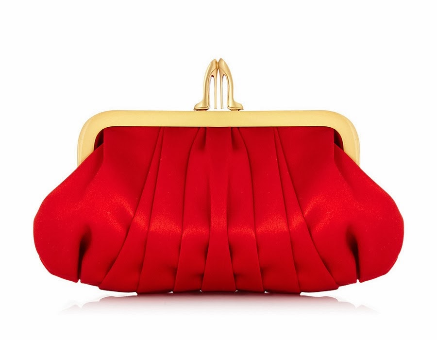 Louboutin Loubi Croissant Clutch (red satin)