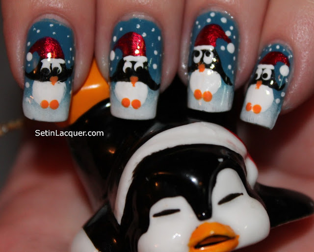 Holiday penguin nail art