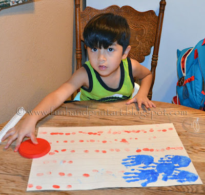 4th of July Fingerprint Flag craft for kids