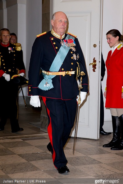 King Harald of Norway attends a Gala Dinner at Christiansborg Palace on the eve of The 75th Birthday of Queen Margrethe of Denmark