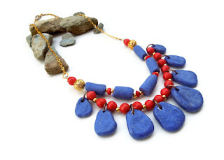 Egyptian blue necklace