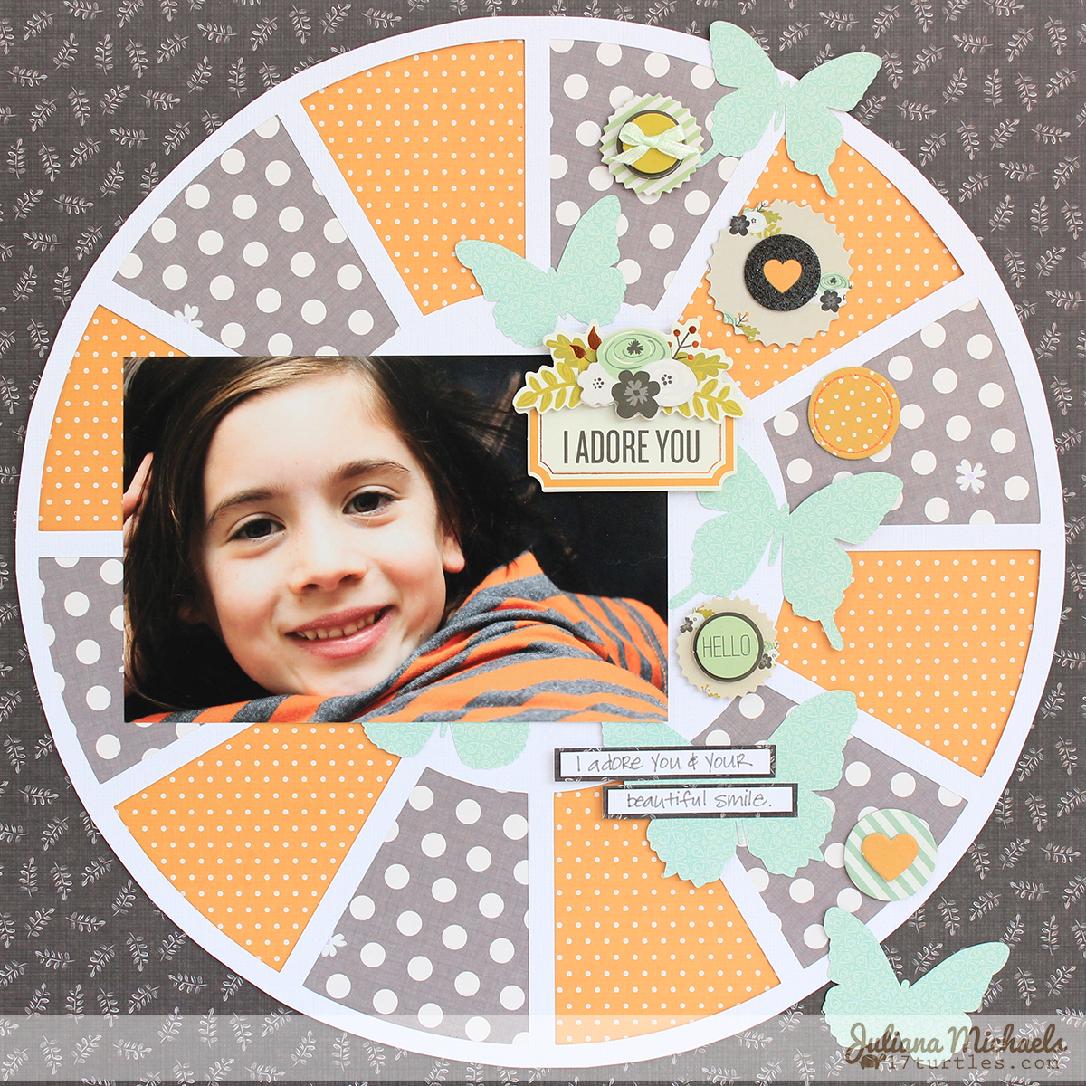 I Adore You Scrapbook Page by Juliana Michaels featuring 3 Birds Design