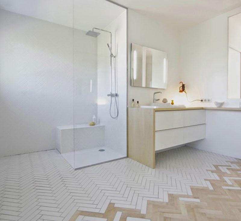 ba o suelo gris pared blanca