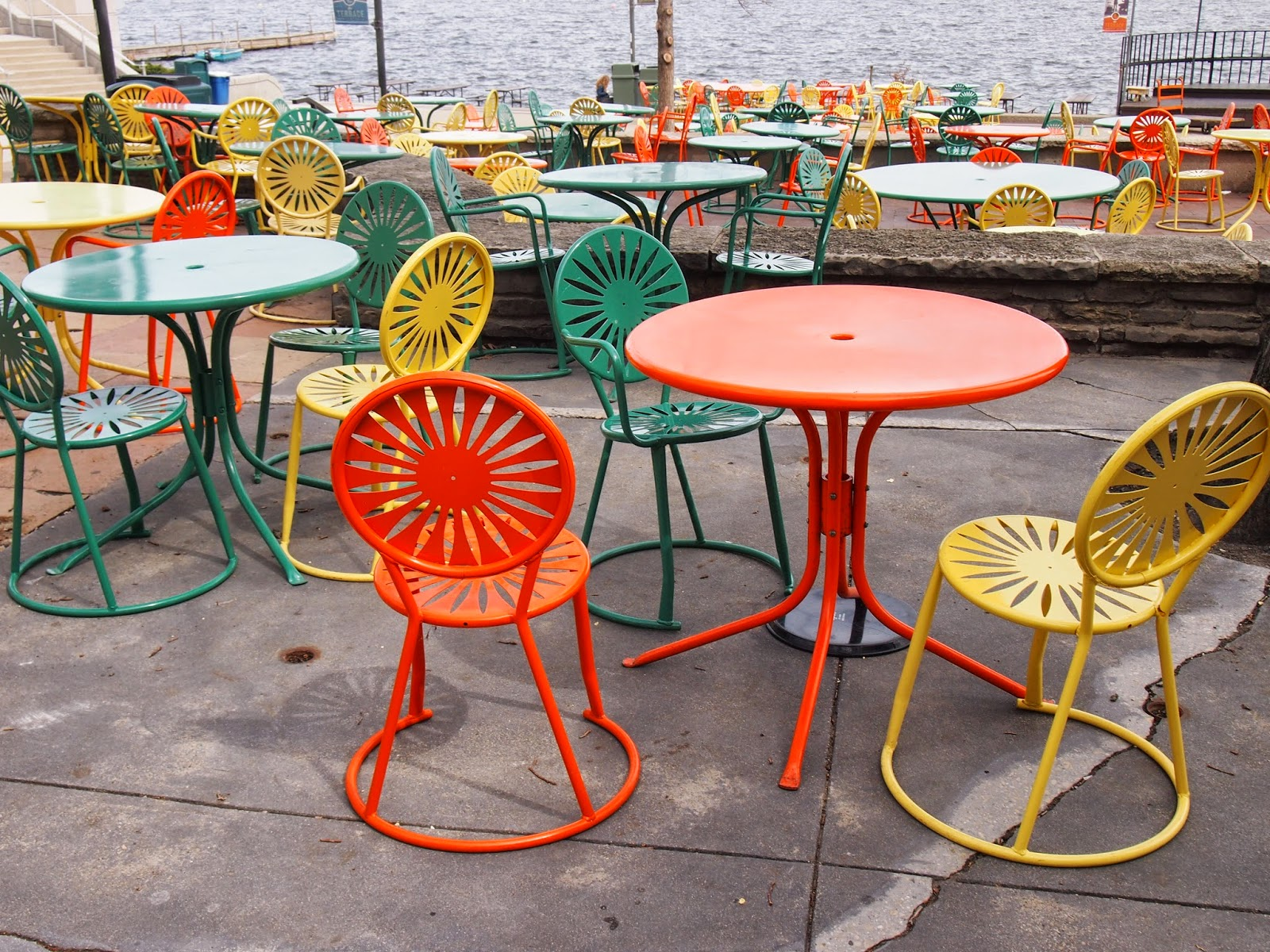 the colorful chairs outside at the university of wisconsin-madison