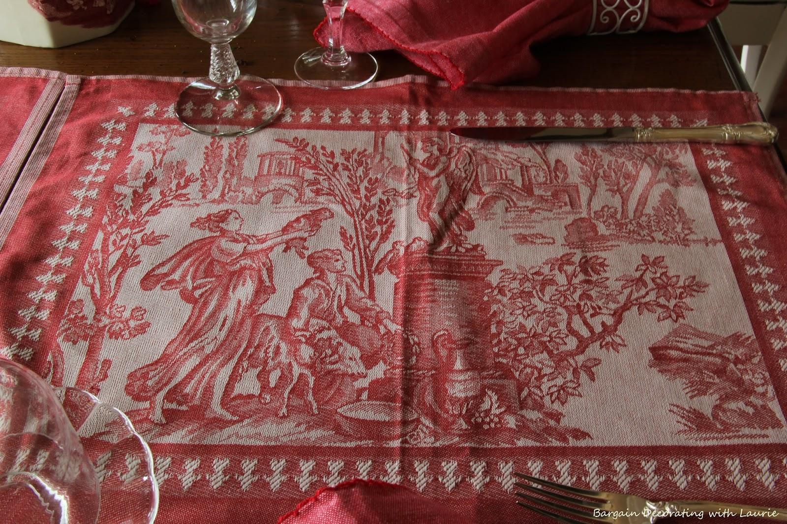 Bargain decorating with laurie a toile de jouy tablescape - Toile de jouy decoration ...