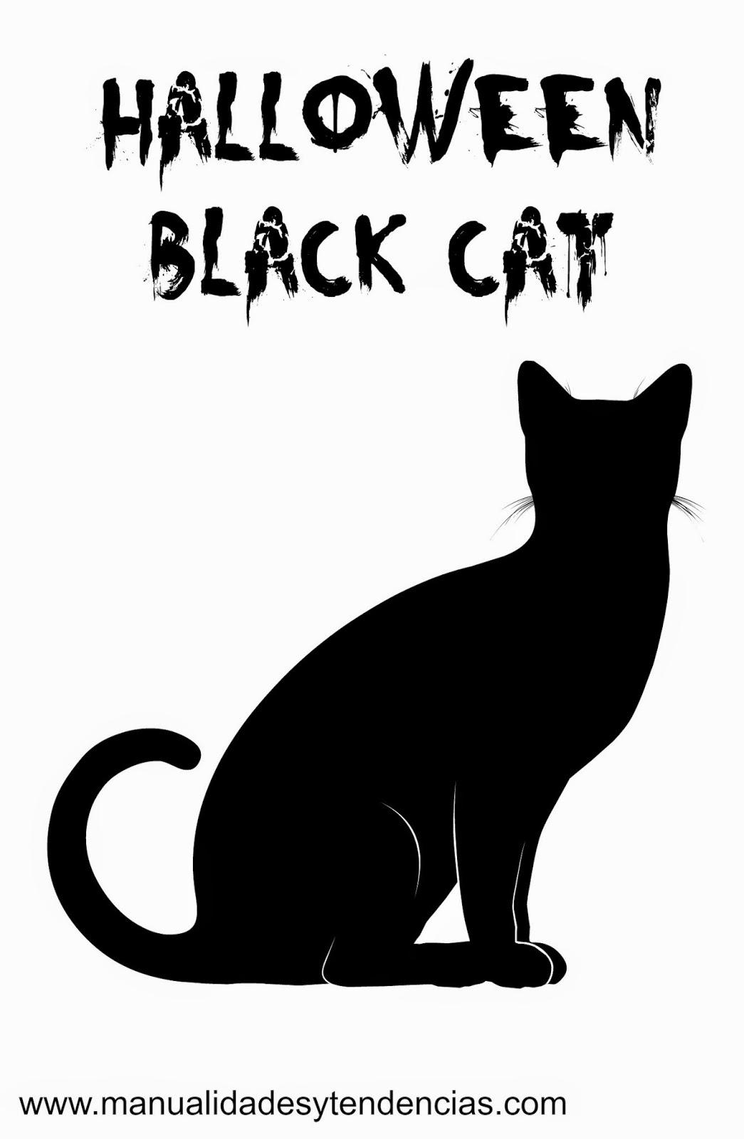 Adorno gato negro Halloween imprimible gratis