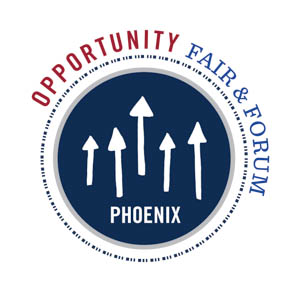 logo for 100,000 Opportunities Initiative Project Fair & Forum Phoenix