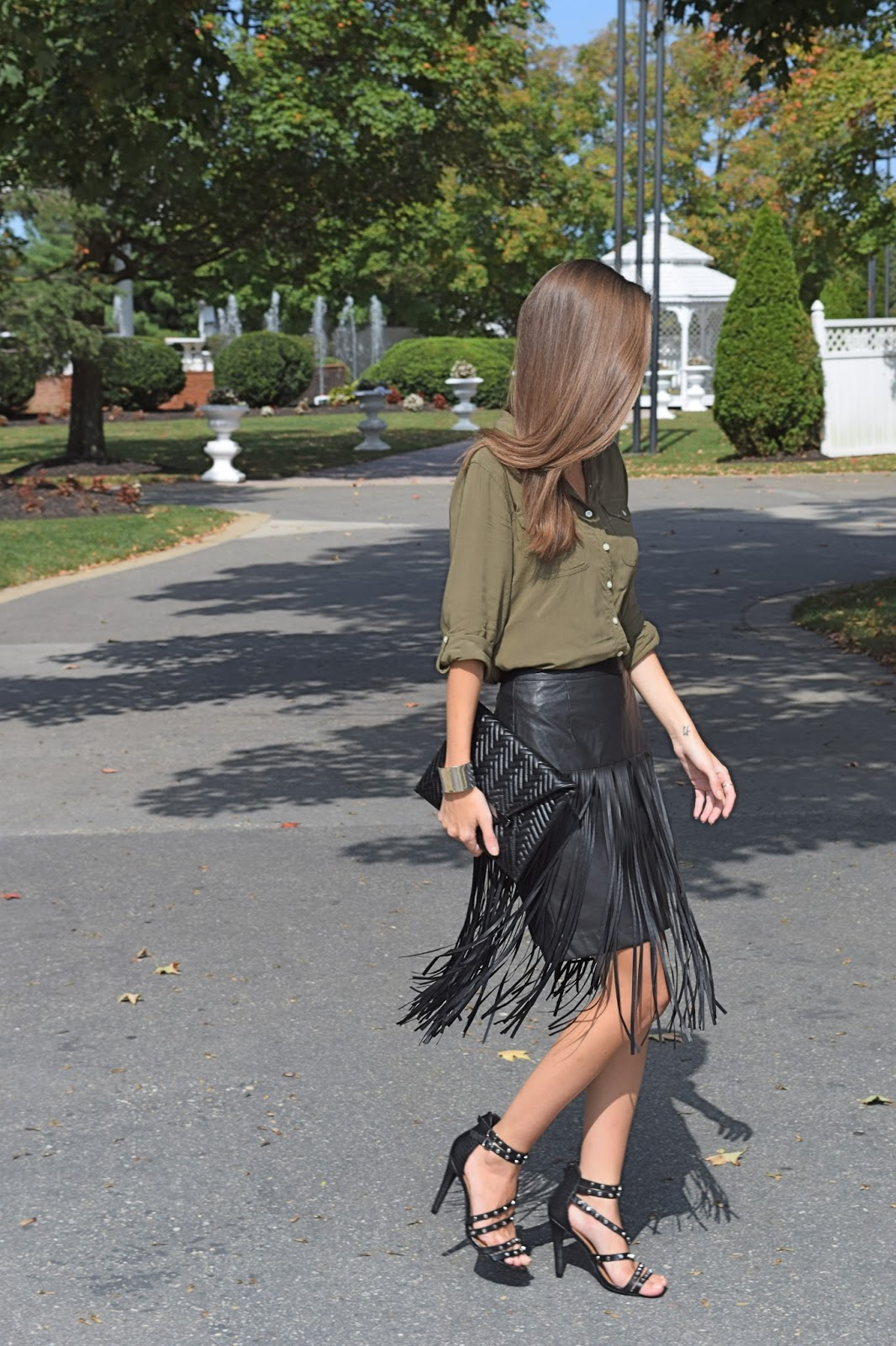 Wearing Target Mossimo Faux Leather Fringe Skirt