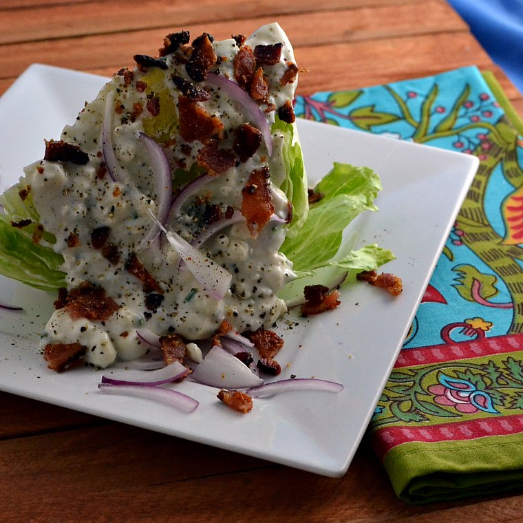 blue cheese iceberg wedge with warm bacon warm bacon and blue cheese ...